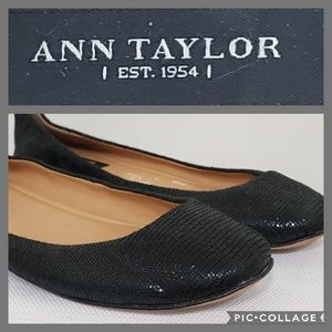 ANN TAYLOR black leather flat ballet shoes *8M